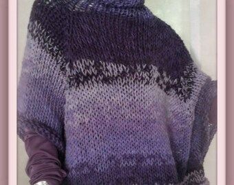 SWEATER WOMAN KNITTED  Bulky Poncho With Sleeves  Oversized