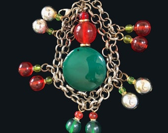 Colorful and Bold Necklace with Jade, Metal and Acyrilic Beads