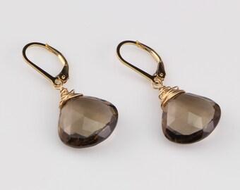 Drop Earrings, Smokey Quartz, Heart Briolette Earrings on 14kt Gold Filled Leverback Ear Wires