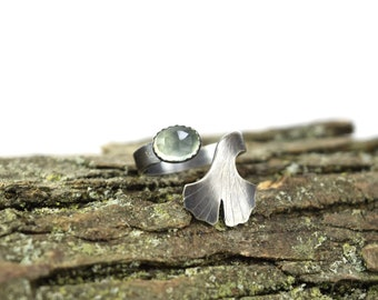 Prehnite Ginkgo Leaf Ring - Size 6-8 - Adjustable Gemstone Ring in Sterling Silver - Botanical Ring - Ginkgo Ring - Ginkgo Jewelry