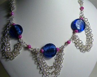 Navy and Pink Chain Necklace