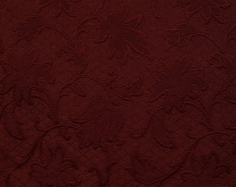 Dark Red Trellis Floral - Floral Fabric - Upholstery Fabric By The Yard - Fast Shipping