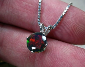 Black Opal Necklace, Black Gemstone Jewelry, October Birthstone, Fine Jewelry, Opal Jewelry, Opal Pendant, Sterling Opal, Fire Opal, Round