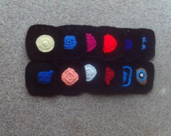 Set of 12,granny,squares,crocheted,supplies,crafts,black,afghans,lapghans,clothing,bags,6x6