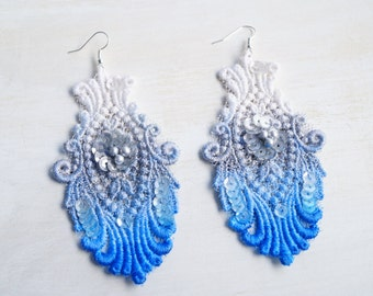 Lace Earrings Cobalt Blue Silver White Hand Painted Ombre