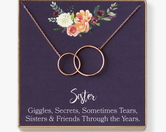 Sisters Necklace: Sister Gift, Gift for Sister, Sister Birthday Gift, Big Sister Gift, Giggles, Secrets, 2 Interlocking Circles