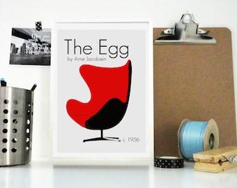 Art Print The Egg Chair Retro, Mod Design Arne Jacobsen Poster - Furniture Print - Minimal Home Decor Design Wall Art - Scandinavian Design