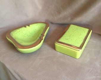 Vintage 50's Ceramic Smoking Set with Ashtray and Cigarette Box, Lime Green, Chartreuse, Gold, Retro, Googie, Mid Century, RARE