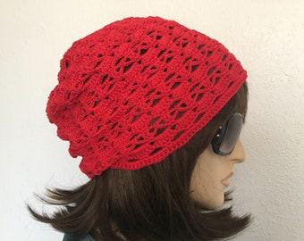 Women Crochet Summer Hat Women Summer Slouchy Beanie in Red Women Spring Hat Summer Fashion