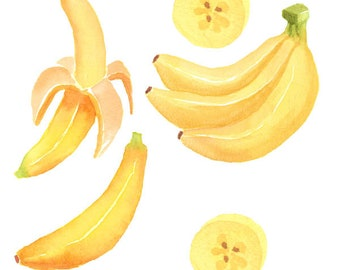 Watercolor Banana Set, Fresh, Tropical, Summer, Plant, Hawaiian, slice, Scrap-booking