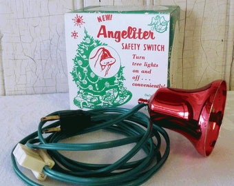 Vintage Angeliter Safety Switch for Christmas Tree Lights, Original Box - Mid-Century, 1950s Red Plastic Bell Electric On-Off, Hard-to-Find