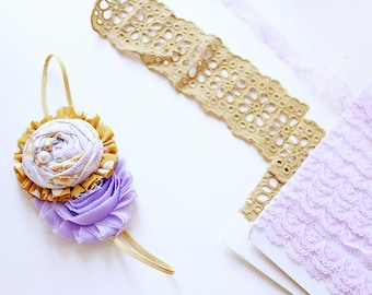 Curry Events - lavender white and mustard rosette and chiffon with lace headband