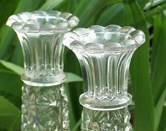 Vintage Clear Glass Vases, Set of 2 Bud Vases, Star Pattern Flower Vase, Anchor Hocking Vase, Pair 2 Vintage Fluted Top Vases, Wedding Decor
