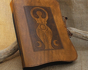 A5, Medium, Leather Bound Journal, Triple Goddess Journal, Moon Goddess, Leather Grimoire, Book of Shadows, Pagan Notebook, Personalized.
