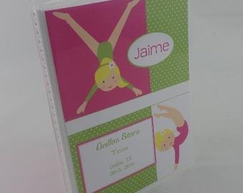 gymnastics photo album Tumbler photo album personalized photo album sport team photo album tournament 4x6 or 5x7 Pink green blonde girl 350B