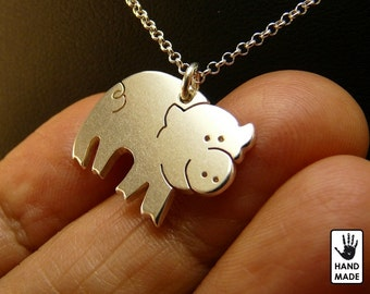 Happy PIG Handmade Sterling Silver .925 Necklace in a gift box
