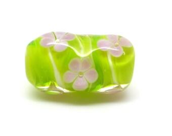 Lampwork glass bead - focal bead - single bead- flowers