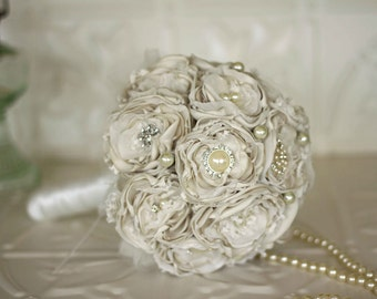 Vintage Inspired Fabric Flower and Brooch Wedding Bouquet, Ivory Satin Bridal Bouquet, shabby chic flowers