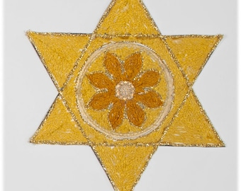 Gold Star of David with Flower