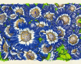 Maria's Blue Buttons print on canvas