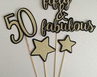 fifty & fabulous Centerpiece Sticks