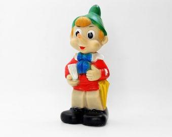 Vintage Pinocchio rubber toy / Italian Figurine / Children's doll Buratino / Geppetto Puppet / 70s