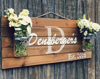 Personalized Rustic Wood Pallet Sign, Family Name Sign, Mason Jar Wood Sign, Shabby Chic Sign, Housewarming Gift