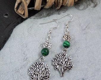 Tree Life Green Malachite Chakra Gemstone/Leaf Bead Earrings Wiccan/Boho UK