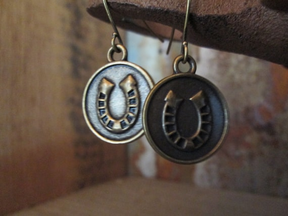 Metal Earrings, Horseshoe Earrings, Good luck Earrings, Brass Earrings, Luck Earrings, St. Patrick's Day