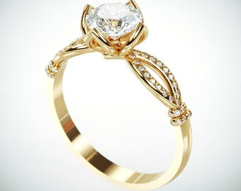 14K Gold Moissanite and Diamonds Engagement Ring in Royalty style | Charles & Colvard Forever One Mossanite and Diamonds engagement ring