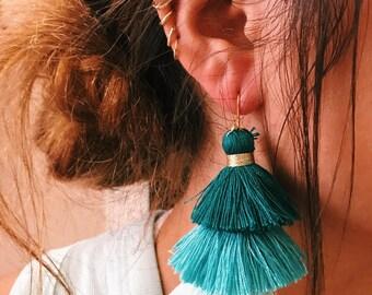 teal ombre earrings