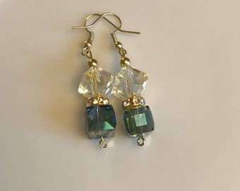 Irradescent and teal beaded earrings with gold accents