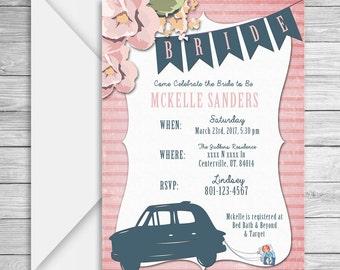 Vintage Bridal Shower invitation, lingerie shower invite, bridal shower, digital invitation, floral invitation, lingerie shower, wedding