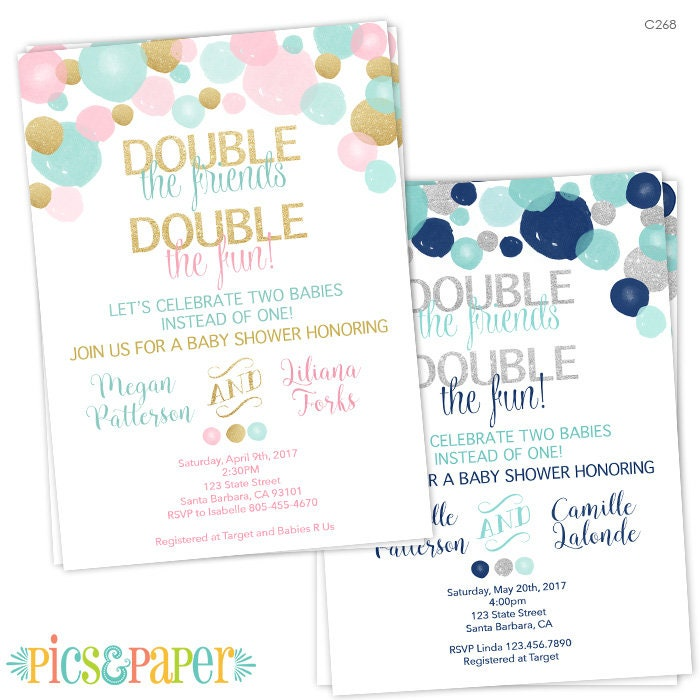 Double Baby Shower Invitation for a Boy and a Girl Light