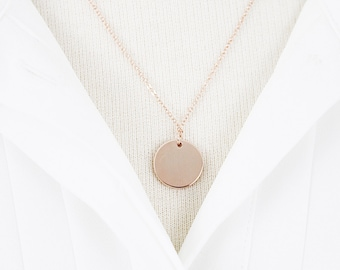 Rose Gold Circle Charm Necklace Bridesmaid Gift Bridesmaid Necklace Dainty Rose Gold Circle Necklace