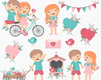 valentines day clipart digital clip art kids children birds hearts  - Valentine Friends Digital Clipart - BUY 2 GET 2 FREE