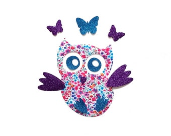Owl, patch, iron on, applique, butterfly, cotton, Liberty fabric, Phoebe, purple, turquoise glitter, sparkle, nursery decor, baby girl