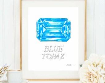 Blue Topaz Watercolor Rendering printed on Paper