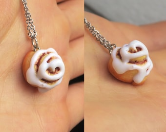 Cinnamon roll necklace - food jewelry, miniature food, pastry jewelry, pastry necklace, food necklace, birthday gift, valentine