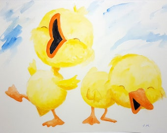 Watercolour, original painting, little ducks, hand painted, aquarelle originale, kids room, illustration, chambre d'enfants, unique