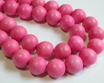 Cotton Candy Pink wood beads round 20mm full strand eco-friendly Cheesewood 6887NB