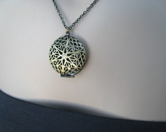 Antiqued Brass Locket Necklace