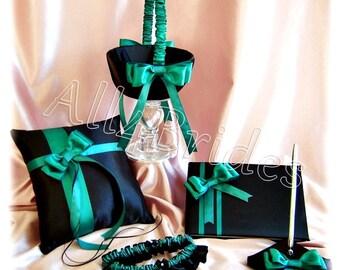 Jade and black Wedding Ring Pillow, Flower Girl Basket, Bridal Garters, Wedding Guest book,  Jade and Black Wedding Accessories, 7pcs