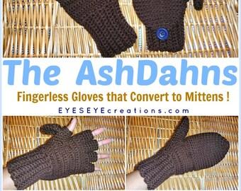 The AshDahns - Convertible Fingerless Gloves / Mittens