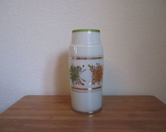 Vase Glass 1960 with floral motif orange, green handmade vintage middle of the century