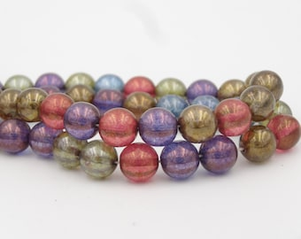 Czech Glass 8mm Druk Beads Lumi Mix  25 Pieces