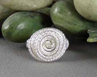 """Wirewrapped Ring, 16ga Sterling Silver Textured Round Wire, size 8.75"""" - Hand Crafted Artisan Jewelry"""