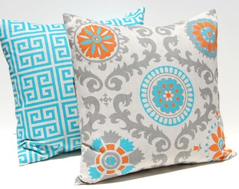 Decorative Pillow Covers - Throw Pillow Covers - Turquoise Pillows - Southwest Decor - Orange and Turquoise - Sofa Pillow Covers - Sham