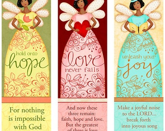 Dark Skin Tone Angelic Trio INSTANT DOWNLOAD - Love - Hope- Joy - Bible Bookmarks Digital Download