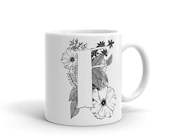 """floral """"F"""" mug"""